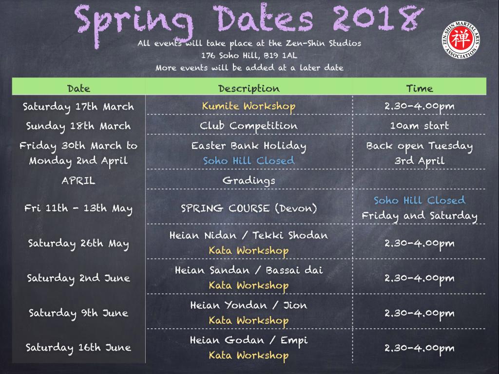 Spring Dates 2018