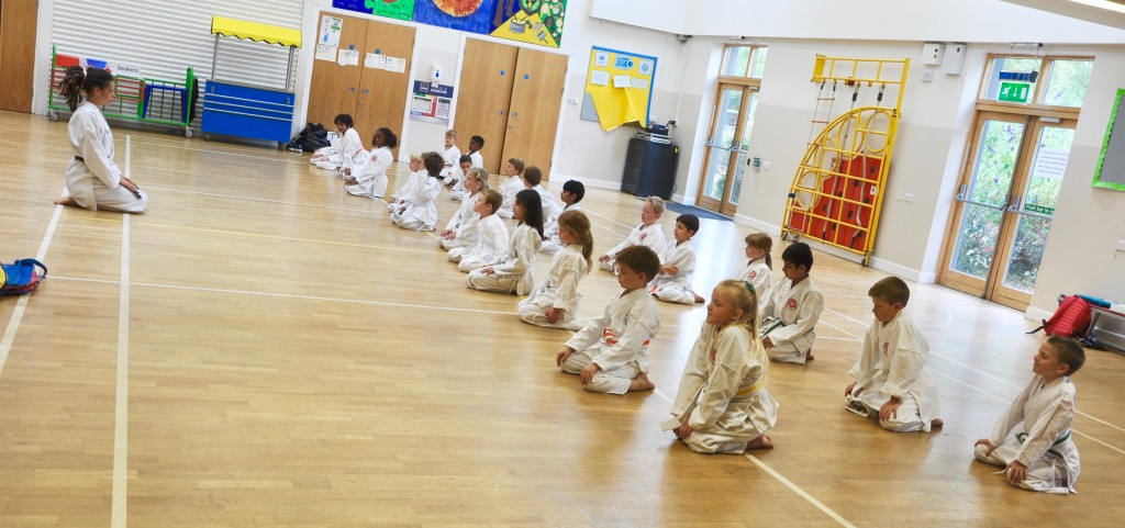 Children meditating at Coppice School before class