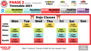 Phase 2 Timetable